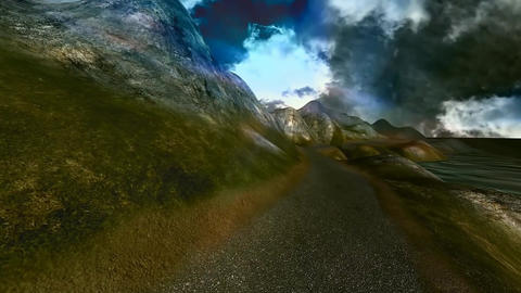 11 3D animated panoramic landscape of the sea and mountains Stock Video Footage