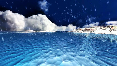 22 animated 3D winter landscape of a blue sea with snow falling Animation