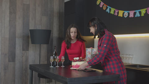 Caring family preparing surprise for birthday party Footage