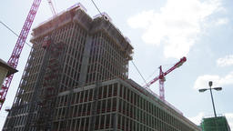 Time Lapse of Construction Cranes Working on Large Building Live Action