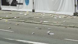Littered Sidewalk and Street Footage
