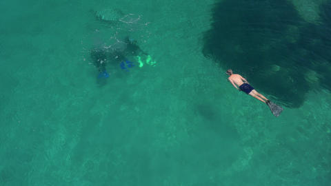 Aerial - Divers, snorkeler and a swimmer enjoying the crystal clear sea Footage