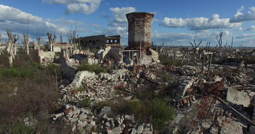Drone scene, destroyed city, natural catastrophe. Flying between dead trees and  Live Action
