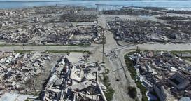 Aerial drone scene of destroyed, demolished, city, neighborhood, camera flying s Footage