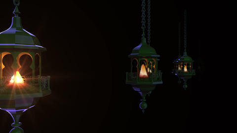 Ramadan lanterns in dark Animación