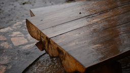 Rain on a wooden tabel Footage