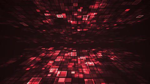 Abstract red light flashing rectangle grid perspective motion graphic Animación