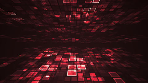 Abstract red light flashing rectangle grid perspective... Stock Video Footage