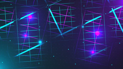 Flying through the data center, effect of neon and illumination, 3d render Footage
