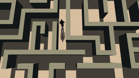Top View of a Man Walking Through a Maze Footage
