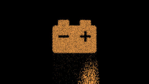 Symbol car battery appears from crumbling sand. Then crumbles down. Alpha channel Premultiplied - Animation
