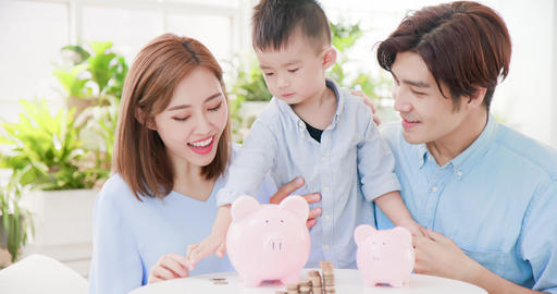 family saving money concept Footage