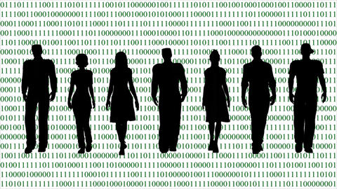 Business Team on the Background of the Binary Code GIF