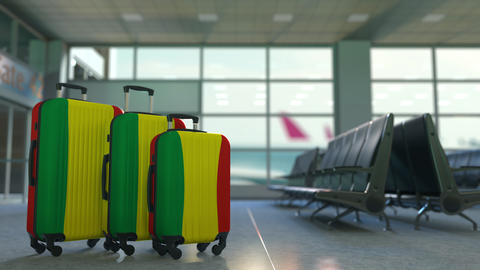 Travel suitcases with flag of Bolivia. Bolivian tourism conceptual animation Live Action