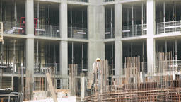 Construction Worker at Work on Building Site Footage