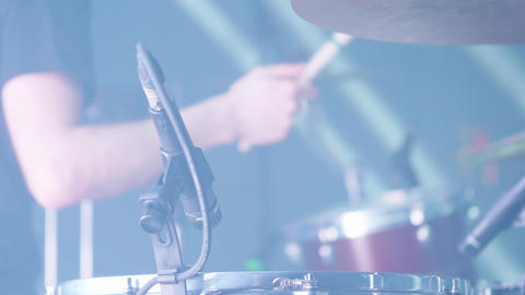 Close up shot of drummer hands playing a rhythm Live Action