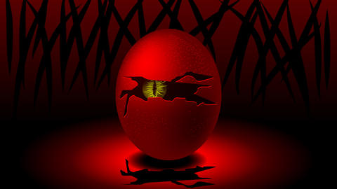 An egg with a cracked shell and a monster in the middle looking out Animación