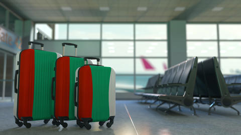 Travel suitcases with flag of Bulgaria. Bulgarian tourism conceptual animation Footage