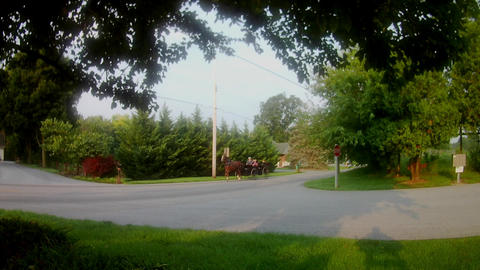 Amish Transportation Type Horse and Buggy with an Open Large Wagon ビデオ
