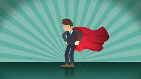 Superhero standing on sunburst background. Sun beam ray background. Business concept. Comic loop Animation