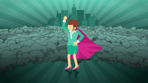 Superhero standing on city background. Near a cloud of dust. Business woman symbol. Leadership and CG動画
