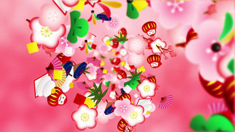 Japanese traditional ornament animation. New Year culture pattern. Red background. Loop animation Animation