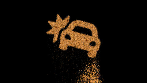 Symbol car crash appears from crumbling sand. Then crumbles down. Alpha channel Premultiplied - Animation