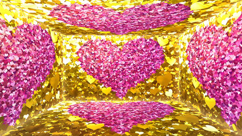 Glitter Room Gold Heart 3 4k Animation