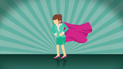 Superhero standing on sunburst background. Sun beam ray background. Business woman concept. Comic Animation