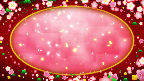 Japanese traditional ornament animation. New Year culture pattern. Red background. Loop animation CG動画