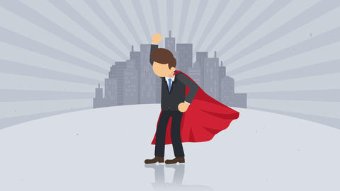 Superhero standing on city background. Dust dance. Business symbol. Leadership and Achievement Animation
