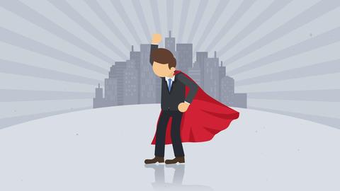 Superhero standing on city background. Dust dance. Business symbol. Leadership and Achievement Animación