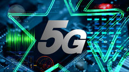 5G text on the background of CPU and smartphone technology Stock Video Footage