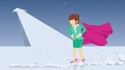Arrow graph up. Superhero standing near a cloud of dust. Business woman symbol. Leadership and Animation