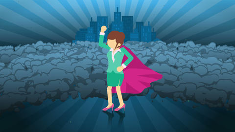Superhero standing on city background. Near a cloud of dust. Business woman symbol. Leadership and CG動画素材