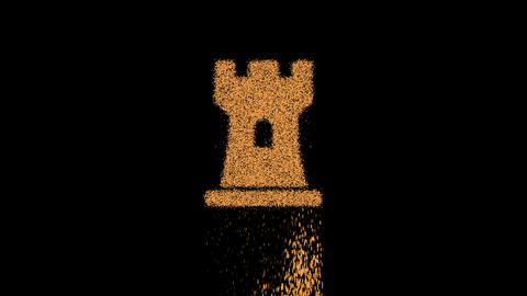 Symbol chess rook appears from crumbling sand. Then crumbles down. Alpha channel Premultiplied - Animation