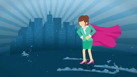 Superhero standing on city background. Near a cloud of dust. Business woman symbol. Leadership and Animation