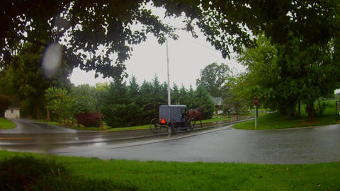 AMISH TRANSPORTATION BUGGY RAIN 8, Live Action