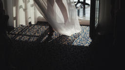 ride's legs circling with wedding dress. Morning of the bride Footage