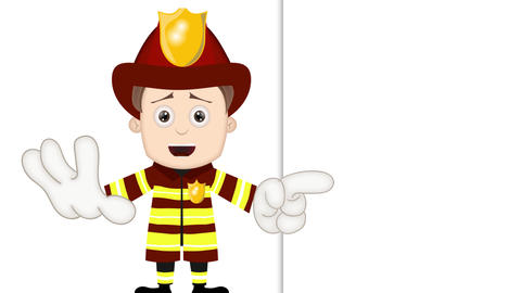 Smart Ben Boy Funny Cartoon Character Toon Fireman with empty background Animation