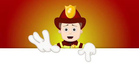 Smart Ben Boy Funny Cartoon Character Toon Fireman with orange background Animation