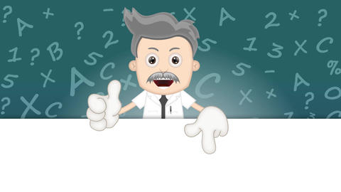 Ben Boy Funny Cartoon Character Toon Scientist with numbers and letters Animation