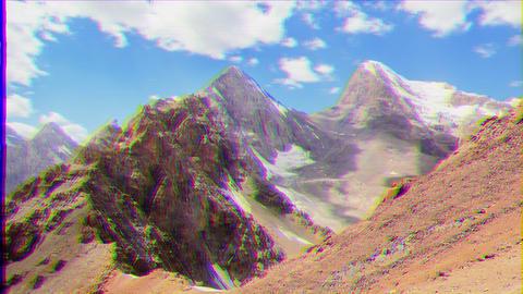 Glitch effect. Peak Energy and Chimtarga. Time Lapse. Fans, Tajikistan Footage
