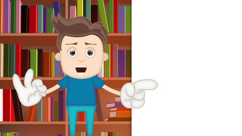 Smart Ben Boy Funny Cartoon Character Toon Man in library Animation