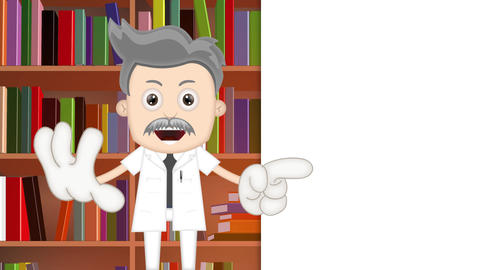 Ben Boy Funny Cartoon Character Toon Scientist with library background Animation