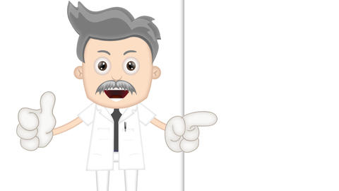 Ben Boy Funny Cartoon Character Toon Scientist with empty background Animation