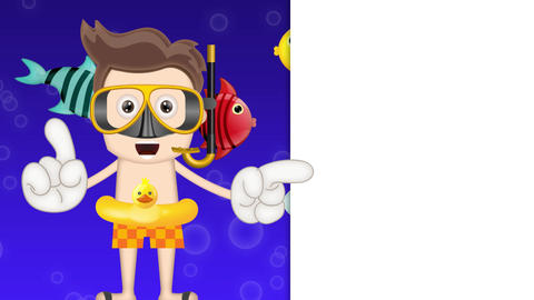 Ben Boy Funny Cartoon Character Toon Diver with Ocean Background with swimming Animation
