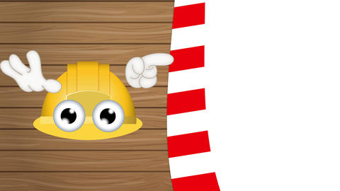 funny construction helmet cartoon with hands showing to empty placeholder Animation