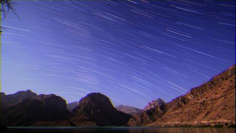 Glitch effect. Star tracks. Tajikistan, Iskander-Kul. TimeLapse Live Action