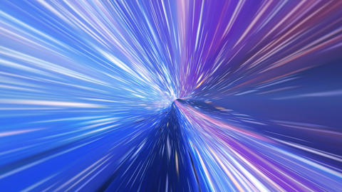 Interstellar, time travel and hyper jump in space. Flying through wormhole tunnel or abstract energy Animation